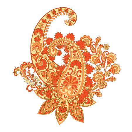 Paisley and Fantastic flower, leaves. Batik style painting. Vintage vector illustration