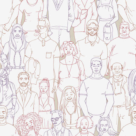 seamless  Vector illustration of crowd of people. Hand drawn background Ilustração