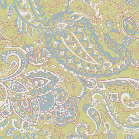 Paisley vector seamless pattern. Fantastic flower, leaves. Batik style painting. Vintage background 스톡 콘텐츠 - 122791432