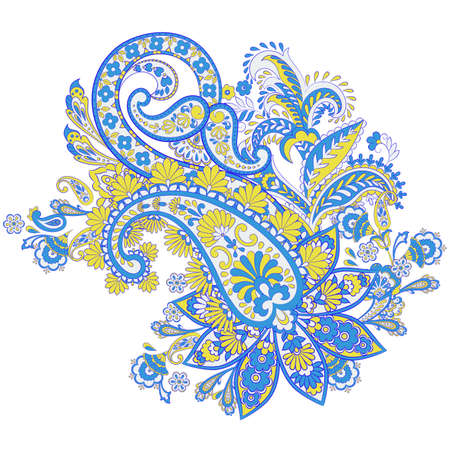 isolated Paisley pattern in indian style. Floral vector illustration Vetores