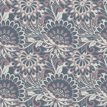 folkloric flowers seamless pattern. damask floral vector ornament Stock Vector - 122526847