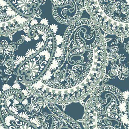 Modèle sans couture d'élégance Paisley avec des fleurs et des feuilles ethniques, illustration florale vectorielle dans un style vintage