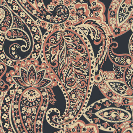 Seamless pattern with paisley ornament. Vector illustration Illustration
