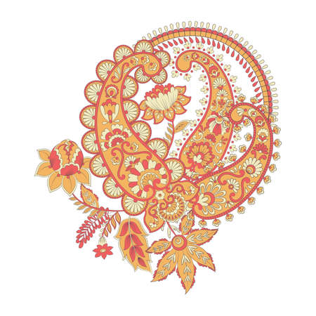 Paisley vector ornament. Fantastic flower, leaves Illustration