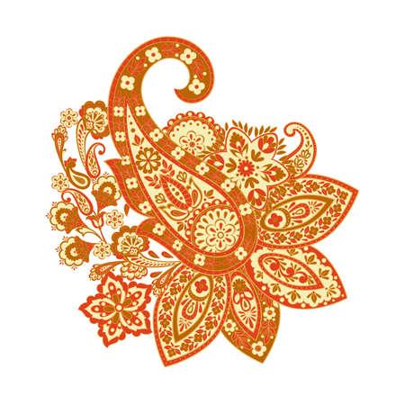 Paisley ethnic isolated ornametn. Vector illustration