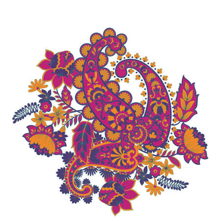 Isolated indian pattern with paisley Stock Vector - 124715618