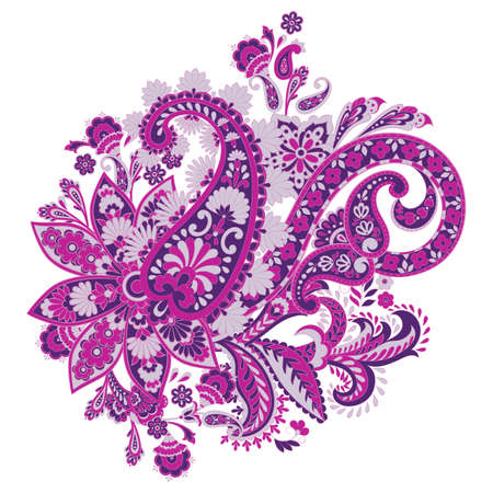 isolated Paisley pattern in indian style. Floral vector illustration Stock Vector - 124715624