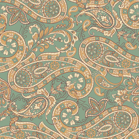 Paisley Floral ethnic Pattern. Seamless  Ornament. Ornamental motifs of the Indian fabric patterns. Stock Illustratie