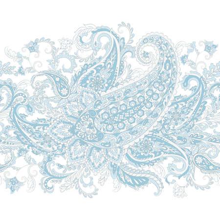 Paisley seamless border pattern. Vector ethnic ornament