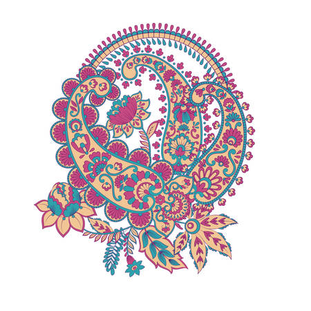 Paisley vector ornament. Fantastic flower, leaves Illustration