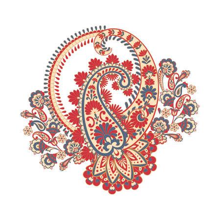 Paisley vector pattern. Fantastic flower, leaves. Textile bohemian print. Batik painting. Vintage