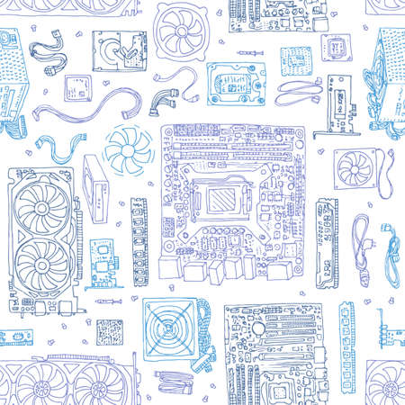 seamless pattern of Electronic component of desktop computer. Motherboard, processor, video card, memory, hdd