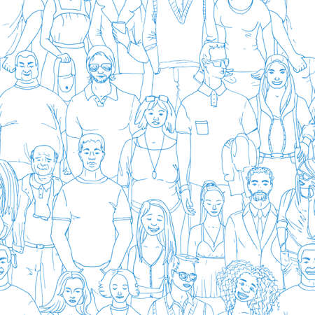 seamless  Vector illustration of crowd of people. Hand drawn background Çizim