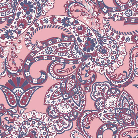 Paisley vector seamless pattern. Fantastic flower, leaves. Textile bohemian print. Batik painting. Vintage Stock Vector - 125595372