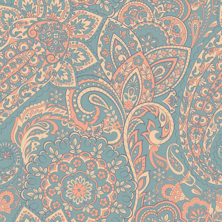 Paisley seamless indian pattern. Ethnic vector background Ilustrace