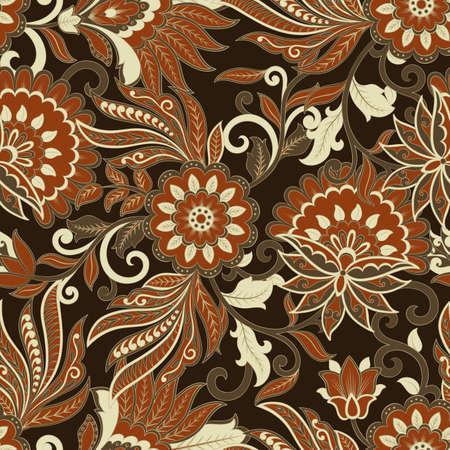 vintage pattern in  batik style. floral vector background