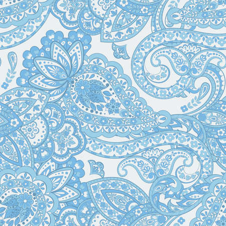 Seamless Paisley pattern in asian ethnic style. Floral vector illustration
