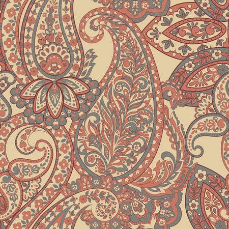 Seamless pattern with paisley ornament. Vector illustration Ilustrace