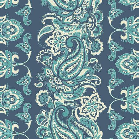 paisley seamless textile pattern in asian batik style