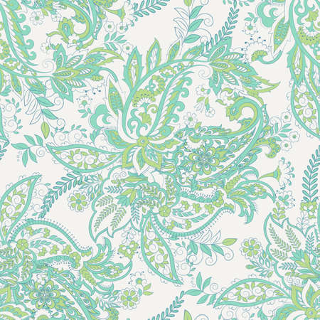 Paisley seamless pattern with ethnic  floral elements.