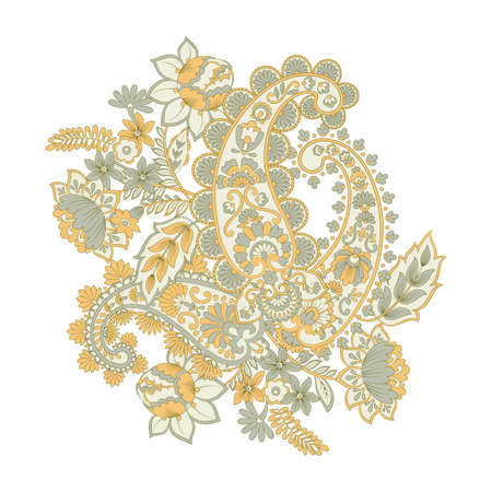 Isolated indian pattern with paisley Ilustrace
