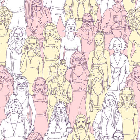 Seamless  Vector illustration of crowd of women. Hand drawn background