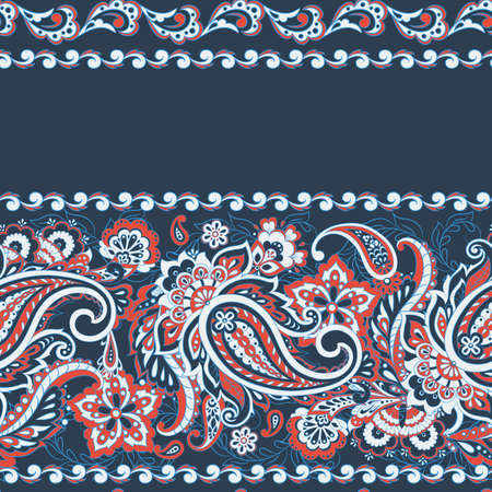 Seamless Paisley pattern in indian batik  style. Floral vector illustration Illustration