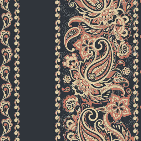 Seamless Paisley pattern in indian batik  style. Floral vector illustration Ilustrace
