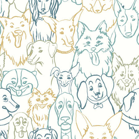 Dogs seamless vector pattern. Illustration with bulldog, bobtail, dachshund, bull terrier, doberman, spitz, chihuahua Иллюстрация