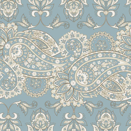 Paisley seamless floral pattern. Indian vintage background