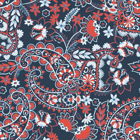 Paisley ethnic seamless pattern with floral elements. Reklamní fotografie - 127986277