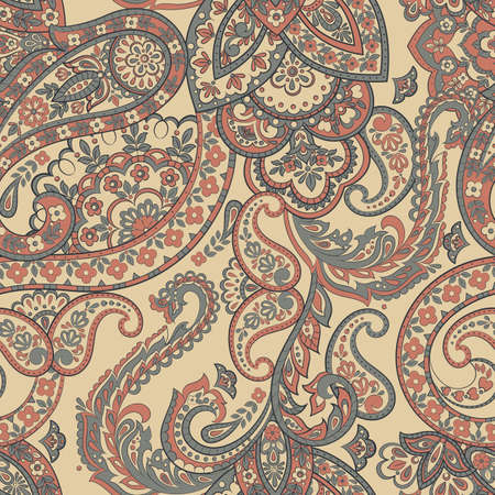 Floral seamless pattern with paisley ornament. Vector illustration in asian textile style Reklamní fotografie - 127986282