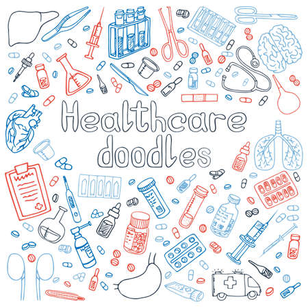 A set of hand drawn Healthcare doodles Ilustrace