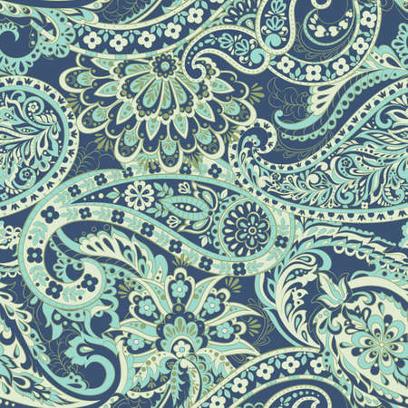 Floral seamless pattern with paisley ornament. damask vector background Ilustrace