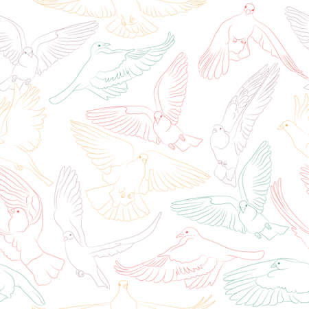 Flying birds seamless pattern. Vector background Ilustrace