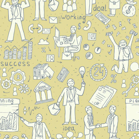 Business People Doodle. Hand drawn seamless Vector pattern