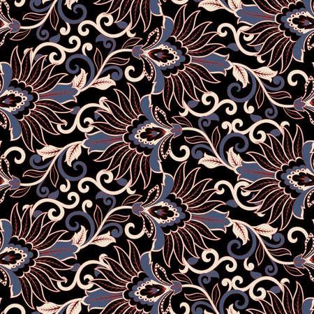 Floral vector seamless pattern. Fantastic flower, leaves. Batik style painting. Vintage background