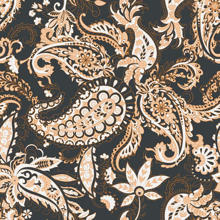 Modèle sans couture de vecteur Paisley. Fleur fantastique, feuilles. Peinture de style batik. Fond vintage Vecteurs