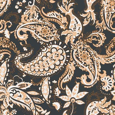 Paisley vector seamless pattern. Fantastic flower, leaves. Batik style painting. Vintage background Vetores