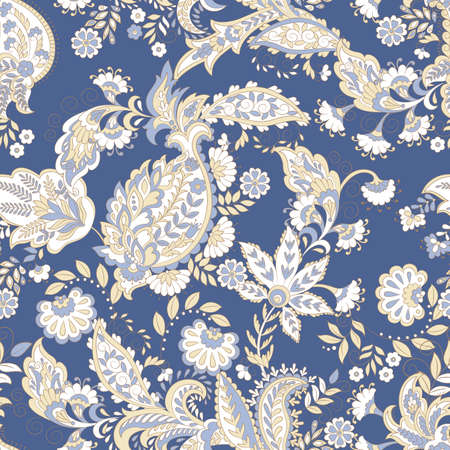 Paisley ethnic seamless pattern with floral elements. 版權商用圖片 - 134809202