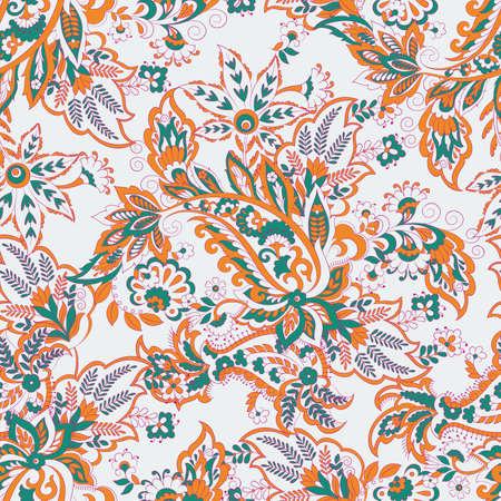 Paisley vector seamless pattern. Fantastic flower, leaves. Textile bohemian print. Batik painting.Vintage background