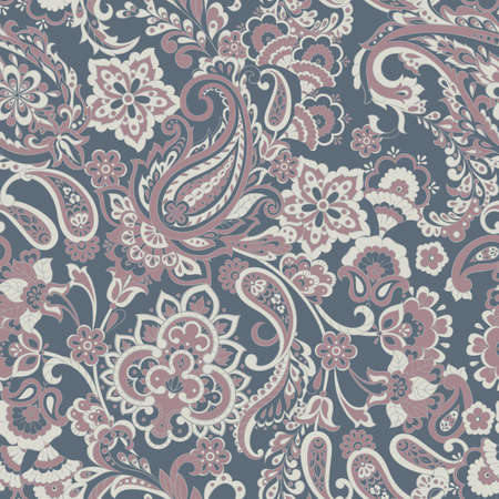 Floral seamless pattern with paisley ornament. Ilustracja
