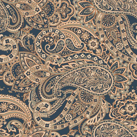 Seamless Traditional Indian Paisley pattern. Vector ethnic background Standard-Bild - 134809212