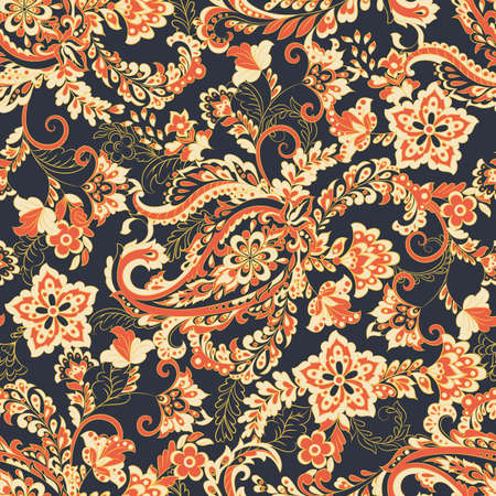 Paisley seamless floral pattern. Vector vintage background