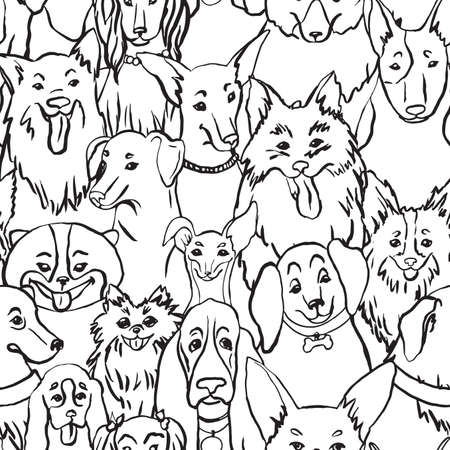 Dogs seamless vector pattern. Illustration with bulldog, bobtail, dachshund, bullterrier, doberman, spitz, chihuahua