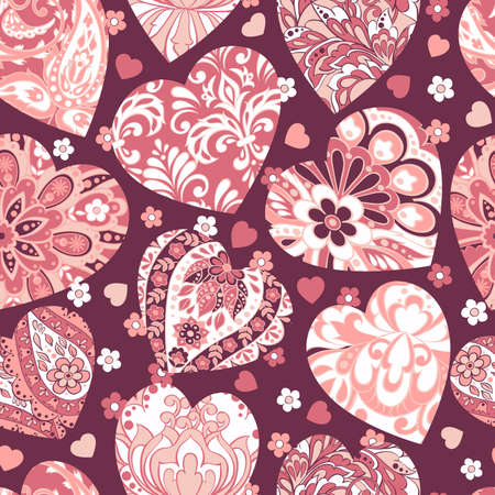 Colorful hearts seamless Valentines day pattern
