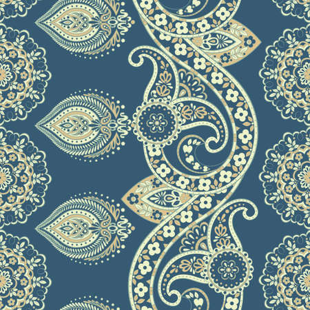 ethnic flowers seamless vector pattern.