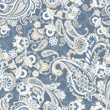 Nahtloses Blumenmuster mit Paisleyverzierung. Vektorillustration im asiatischen Textilstil