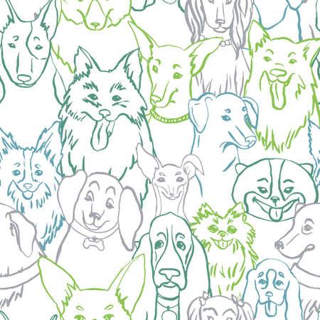Dogs seamless vector pattern. Illustration with bulldog, bobtail, dachshund, bullterrier, doberman, spitz, chihuahua