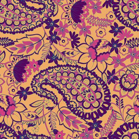 paisley vintage seamless pattern. damask vector background